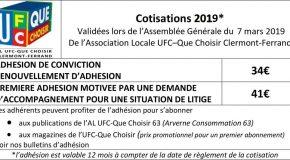 TARIFS COTISATIONS 2019